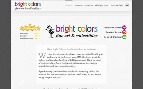 Screenshot of About Page brightcolors.com - About Bright Colors | Bright Colors Art & Collectibles - captured Aug. 3, 2018