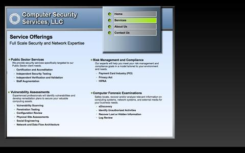 Screenshot of Services Page compsecserv.com - Services - captured Oct. 2, 2014