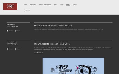 Screenshot of Press Page kindrightfilms.com - News — Kind Right Films - captured Sept. 30, 2014
