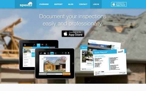 Screenshot of Home Page Privacy Page spex.it - Spex - iPad Inspection Tool for Contractors & Adjusters - captured Oct. 6, 2014