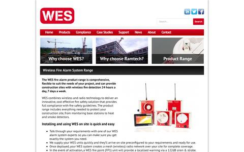 Screenshot of Products Page wesfire.co.uk - Wireless Fire Alarm System Range - WES    Wireless Evacuation System - captured Oct. 1, 2014