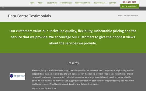 Screenshot of Testimonials Page migsolv.com - Data Centre Testimonials - MigSolv - captured Nov. 4, 2014