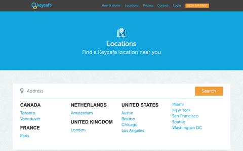 Screenshot of Locations Page keycafe.com - Keycafe: Key Exchange - Simplified - captured Aug. 9, 2017