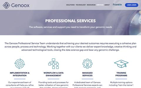 Screenshot of Services Page genoox.com - Genoox NGS analysis platform - professional genomic services - captured July 17, 2018