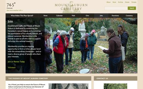 Screenshot of Signup Page mountauburn.org - Join | Mount Auburn Cemetery - captured Oct. 7, 2014