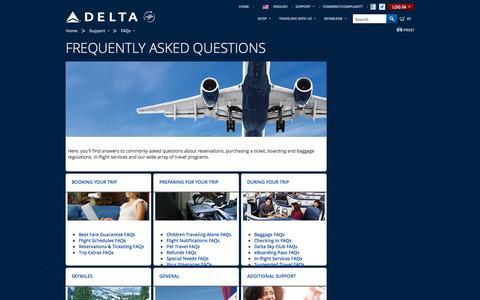 Screenshot of FAQ Page delta.com - Delta FAQs | Delta Air Lines - captured Sept. 19, 2014