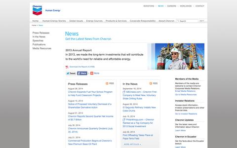 Screenshot of Press Page chevron.com - Chevron - News - captured Sept. 22, 2014