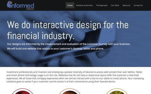 Screenshot of Home Page informed-design.com - Informed Design - Interactive Design for the Financial Industry - captured Feb. 10, 2016