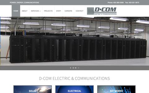 Screenshot of Home Page dcomlv.com - D-Com Electric & Communications | Solar, Electric, Networking - captured Oct. 5, 2014
