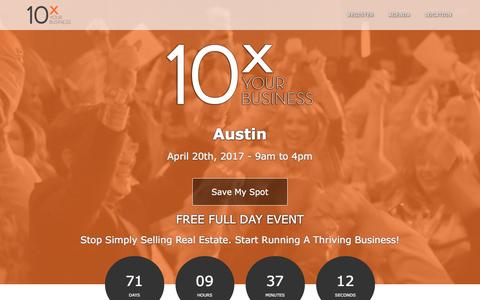 Screenshot of Landing Page tomferry.com - Austin 10X Your Business | Tom Ferry - Your Coach - captured Feb. 7, 2017