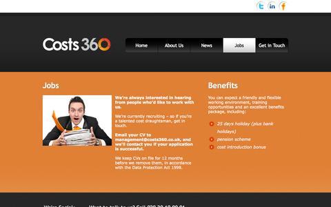 Screenshot of Jobs Page costs360.co.uk - Costs 360 - Jobs - captured Oct. 3, 2014