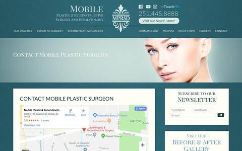 Screenshot of Contact Page mprsd.com - Contact Mobile Plastic Surgeon, Email Alabama Cosmetic Surgeon - captured Oct. 17, 2018