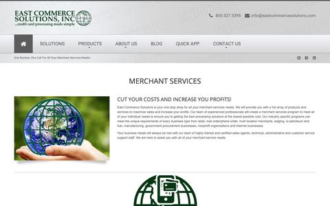 Screenshot of Services Page eastcommercesolutions.com - Home - captured Sept. 26, 2018
