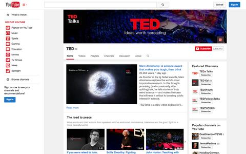 Screenshot of YouTube Page youtube.com - TED  - YouTube - captured Oct. 26, 2014