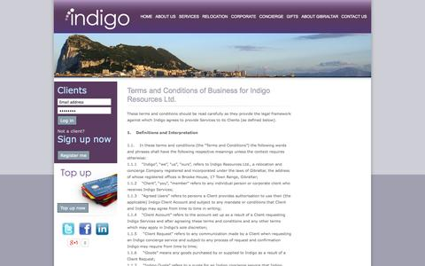 Screenshot of Terms Page indigo.gi - Terms and Conditions - captured Sept. 30, 2014