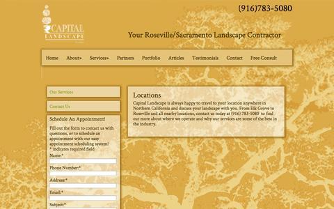 Screenshot of Locations Page capitallandscape.com - Locations - Sacramento Landscape - captured Sept. 27, 2014