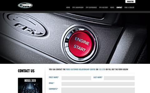 Screenshot of Contact Page fpv.com.au - FPV Contact  | Ford Performance Vehicles | FPV - captured Oct. 6, 2014