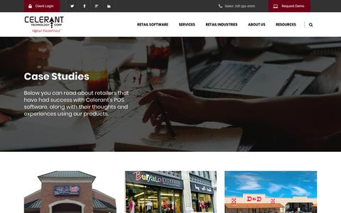 Screenshot of Case Studies Page celerant.com - Point of Sale Case Studies - Celerant Technology - captured Dec. 10, 2017