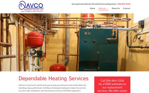 Screenshot of Services Page davcoheatingandcooling.com - Heating Services | Heat Pumps | Romeo, MI - captured Oct. 7, 2018