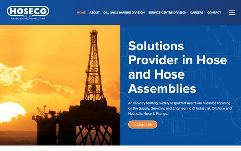 Screenshot of Home Page hoseco.com.au - Hoseco: Solutions Provider in Industrial Offshore Hydraulic Hose & Fittings - captured Sept. 29, 2018