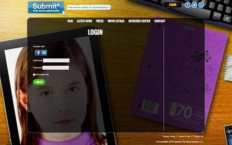 Screenshot of Login Page submitthedocumentary.com - Login - Submit The Documentary - captured Feb. 10, 2016