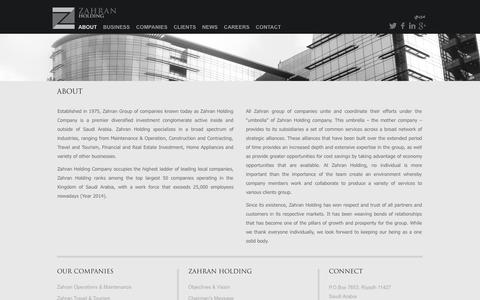 Screenshot of About Page zahranholding.com - About | Zahran Holding Comany - captured Nov. 5, 2014