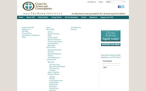 Screenshot of Site Map Page cac.org - Center for Action and Contemplation Site Map - captured Sept. 23, 2014