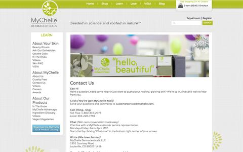 Screenshot of Contact Page mychelle.com - Contact Us - captured Sept. 19, 2014