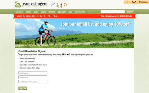 Screenshot of Signup Page teamestrogen.com - Sign up for the TeamEstrogen.com Email Newsletter - captured Jan. 10, 2016