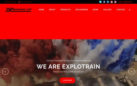 Screenshot of Home Page explotrain.com - IED Training Aids, Battlefield Effects, and Explosive Effects - Explotrain - captured Sept. 16, 2017