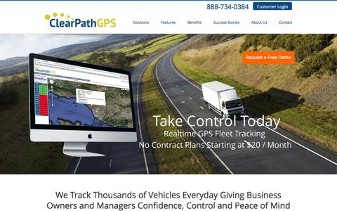 Screenshot of Home Page clearpathgps.com - Live GPS Vehicle Tracking - ClearPathGPS - captured Jan. 28, 2016