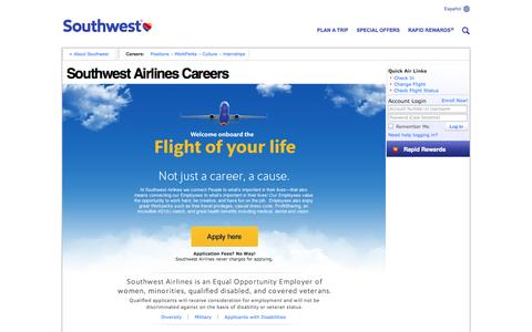 Screenshot of Jobs Page southwest.com - Southwest Airlines Careers - captured Oct. 29, 2014