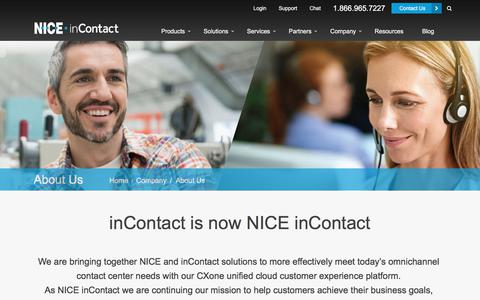 Screenshot of About Page niceincontact.com - About Us - captured April 14, 2018