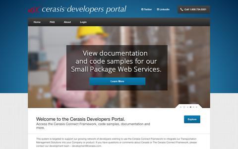 Screenshot of Developers Page cerasis.com - Cerasis Developers Portal - captured Nov. 3, 2017