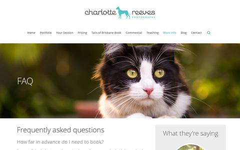Screenshot of FAQ Page charlottereeves.com.au - Charlotte Reeves Photography |   FAQ - captured Jan. 27, 2016