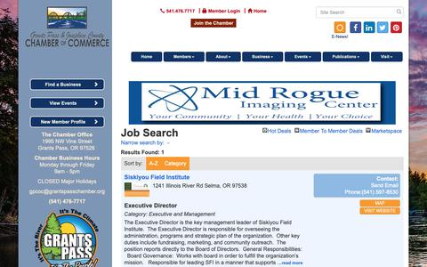 Screenshot of Jobs Page grantspasschamber.org - Job Search - Grants Pass & Josephine County Chamber of Commerce, OR - captured Sept. 30, 2018