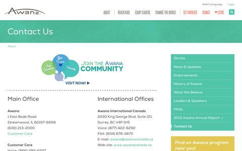 Screenshot of Contact Page awana.org - Contact Us | Awana - captured Nov. 4, 2014