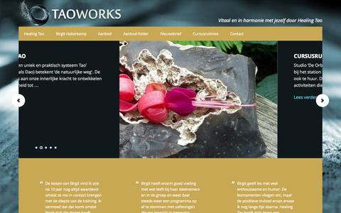Screenshot of Home Page taoworks.nl - Welkom - T a o w o r k s - captured Sept. 30, 2014
