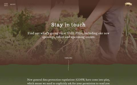 Screenshot of Signup Page thepighotel.com - THE PIG - Sign up to stay in touch - captured March 27, 2019