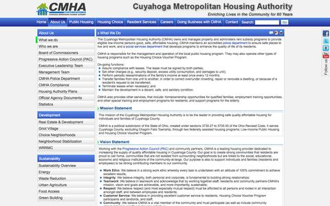 Screenshot of About Page cmha.net - CMHA: What We Do - captured Sept. 19, 2017