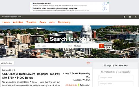 Screenshot of Jobs Page madison-wisconsin.com - The Official Madison Guide  Jobs - captured Feb. 8, 2018
