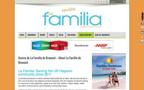 Screenshot of About Page lafamiliadebroward.com - Acerca de La Familia de Broward – About La Familia de Broward | La Familia de Broward - captured May 14, 2017