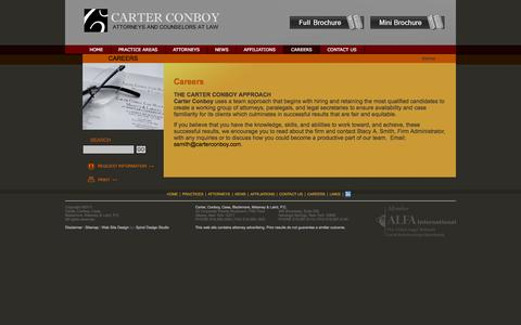 Screenshot of Jobs Page carterconboy.com - Careers | Carter Conboy Case Blackmore Maloney Laird - captured Sept. 30, 2014