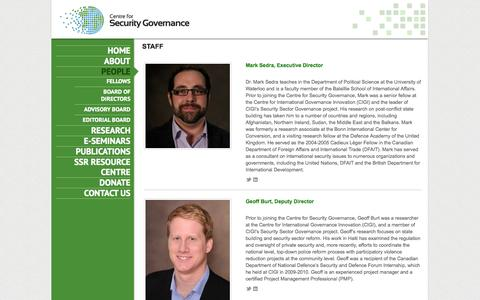 Screenshot of Team Page secgovcentre.org - People - Centre for Security Governance - captured Oct. 2, 2014