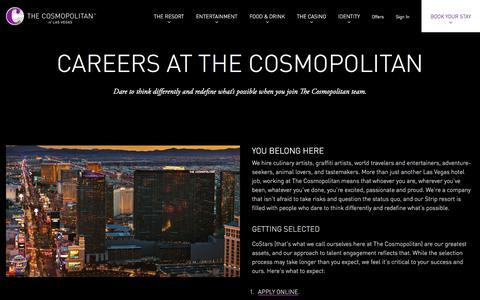 Screenshot of Jobs Page cosmopolitanlasvegas.com - Las Vegas Luxury Hotel | Careers | The Cosmopolitan - captured Sept. 22, 2018