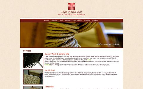Screenshot of Services Page edgeofyourseat.ca - Services | Edge Of Your Seat :: Toronto ON :: Wicker Restoration, Chair Caning - captured Sept. 29, 2014