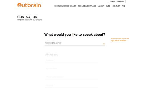 Screenshot of Contact Page outbrain.com - Contact Us To Get Started | Outbrain.com - captured Jan. 31, 2018