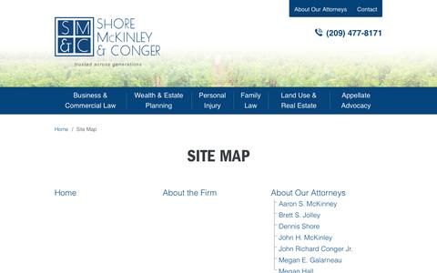 Screenshot of Site Map Page smcslaw.com - Site Map - Shore, McKinley & Conger, LLP - captured Dec. 1, 2016