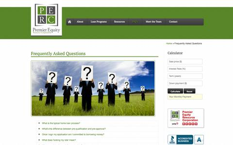 Screenshot of FAQ Page premier-equity.com - Frequently Asked Questions | Premier Equity - captured Oct. 2, 2014