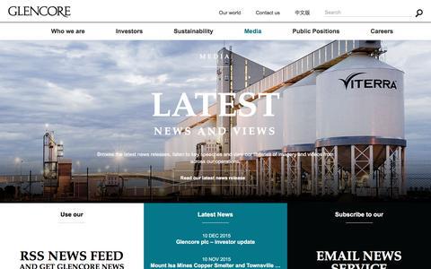 Screenshot of Press Page glencore.com - Media | Glencore - captured April 30, 2016